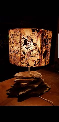 A lamp made with Slate-Lite, the paperthin real stone veneer.