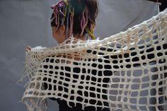 silk and wool grid shawl, hand felted  by Tash Wesp  www.tashwesp.com