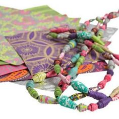 Make Your Own Paper Bead Jewelery   Use you left over scraps of paper for the fun paper craft of making your own paper bead jewelry.