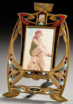 Antiques Luxury Picture Frame Brass 20 Cm X 16 Cm Art Nouveau With Rhinestone Decorative Arts