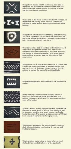 Traditional African mud cloth symbols: Each piece of mudcloth tells a story. No two pieces are alike and each pattern and color combination has a meaning. The Smithsonian Institution put together a website with Flash video that steps you through the process http://www.mnh.si.edu/africanvoices/mudcloth/index_flash.html The website & video were created in 2003 when Mali was featured at the annual Smithsonian Folklife Festival.: