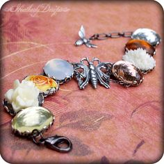 Autumn's Garden: one of a kind antiqued silver adjustable charm bracelet