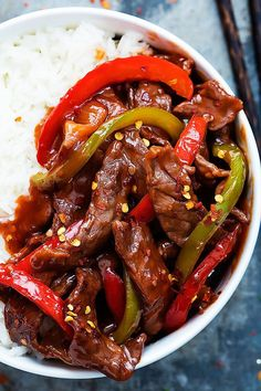 Tender, spicy Asian Beijing beef you can whip up in just 20 minutes. | Creme de la Crumb