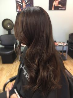 Chocolate chestnut warm brown with caramel highlights for dark hair types