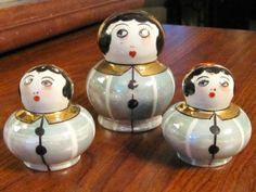 Rare Vintage Art-Deco Noritake Lusterware Condiment Set Flapper Pierrot Lady | eBay