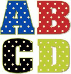 Silhouette Design Store - View Design #73341: polka dot alphabet a-d