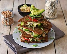 Recipe for a Bean and Chickpea Sandwich. A spread from mashed beans and chickpeas, hearty bread, fresh veggies, vegan. Delightful!