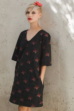 NEW Cotton black dress with red abstract ornament by jenfashion, $139.00