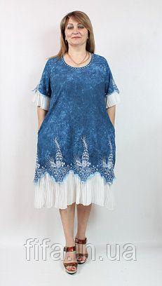 db6027b186f4670 Платье джинсовое с шифоном, Pompadur Турция 52-64рр | Лето платья ...