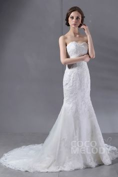 Queenly Trumpet-Mermaid Sweetheart Chapel Train Lace Wedding Dress CWLT09002Cocomelody#weddingdresses#bridalgowns#