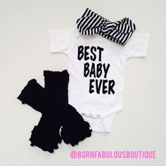 Onesie Only ~ Best Baby Ever Infant Girls Summer Outfit Baby White and Black Romper Bodysuit Onesie Short Sleeves