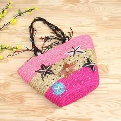 Straw Handbags Summer Weave Woven Shoulder Tote Shopping Beach Bag Purse Handbag Straw Beach Bags Travel
