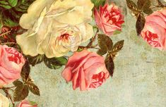 You Love the Roses...Victorian roses on a blue, grungy background ~ postcard-sized image