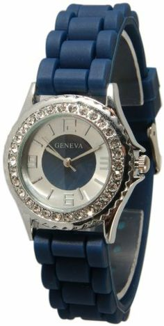 Women's New Small Face Navy Blue Silicone Jelly Watch w/ Crystal Rhinestones Bezel 161sf Exquisite Collections. $8.95. Water Resistant and Lead Free and Easy Read Numbers. Japan Quartz Movement. Very fashionable and stylish. Makes a great gift!. Silicone Style Soft, Bendable, Flexible Band. Band Length: 4 inches + 3 inches (both halves)
