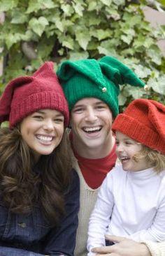 Jingle Bells Family Hats Knitting Pattern ... http://www.redheart.com/free-patterns/jingle-bells-family-hats#.UG4O7znOicA.pinterest