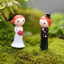 2 Pçs/lote Kawaii Zakka Figura de Ação Casal Casar Casamento DIY Micro Paisagem Gnomo de Jardim Decoração de Casa de Mini Brinquedos de Fadas(China)