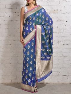 Blue-Green Banarasi Silk Saree