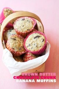 Brown Butter Chocolate Chunk Banana Muffins