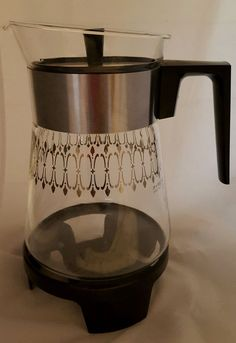 Pyrex Carafe with Gold etching  With Warming Base 6 Cup #Pyrex
