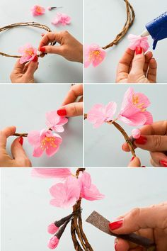 Diy paper flowers tutorial happy happy nester creations paper cherry blossoms make for the prettiest flower crowns mightylinksfo
