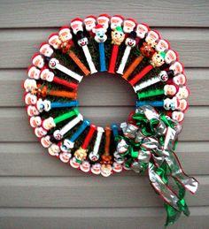 Upcycled PEZ HEADS WREATH Snowmen Santas Reindeer Elves