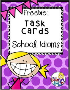 School Idioms Task Cards Do you teach figurative language? These 32 task cards are great for 2nd through 5th grades or for ESL kids too. All of the cards have a school theme which makes them perfect for Back to School or for any time of the year. They can be used for centers one on one partners or small groups for a whole class activity like a scavenger hunt or a game of Scoot. Please grab this set of task cards at my TpT store here. Thanks so much for stopping by and enjoy this fun…
