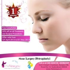 Celebrate the #1stAnniversary of theNewyou and enjoy 25% off on #alltreatments and #surgicalprocedures along with free consultation. Offer valid till 1st May, 2015.