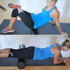 Stretch and Strengthen hips/ IT band. Sit on the foam roller with left ankle crossed over right knee. Place hands directly behind you. Gently rock from side to side to release tight glutes. Switch sides after 30 seconds. Next, flip over so that the foam roller is under the front of right hip. Gently roll this area out for 30 seconds before switching sides.