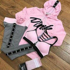 Sporty Outfits, Teen Fashion Outfits, Swag Outfits, Athletic Outfits, Mode Outfits, Pink Fashion, Fall Outfits, School Outfits, Vs Pink Outfit