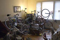Stylish Bike Storage For The Tiniest Apartments Bike Storage Room, Indoor Bike Storage, Bicycle Storage, Bicycle Rack, Bicycle Decor, Bicycle Design, Bike Storage Solutions, Bike Room, Small Storage