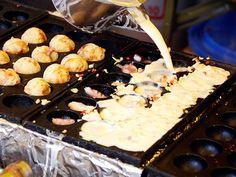 Street fair food in Kyoto: Takoyaki.  Heck any Japanese street fair food...