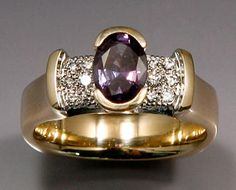 14ky ring with Natural Alexandrite and Diamonds