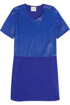 Mason by Michelle Mason|Leather and jersey mini T-shirt dress|NET-A-PORTER.COM