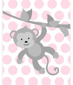 Monkey Nursery Art, Baby Girl Zoo Art, Zoo Nursery Decor, Grey and Pink, Zoo Wall Art, Baby Zoo Decor, Gender Neutral, Monkey Canvas Print: Prints are freshly printed to order on 69 lb commercial grade luster paper using premium archival inks for vibrant color and longevity.