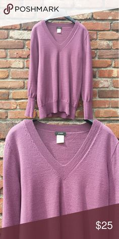 J. Crew merino v-neck sweater Dusty rose / mauve. Size small. Runs more on the relaxed (boyfriend) side than the fitted sise. 100% merino. Good condition, well-cared for. J. Crew Sweaters V-Necks
