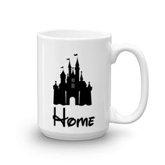 The Magic thing about home is that it feels good to leave and even better to come back    Made and printed in the USA   Ceramic   Dishwasher safe   Microwave safe   white, glossy