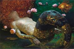 The mermaid is an archetypal image that represents a woman who is at ease in the great waters of life, the waters of emotion and sexuality. She shows us how to embrace our instinctive sexuality and sensuality so that we can affirm the essence of our feminine nature, the wisdom of our bodies, and the playfulness of our spirits. She symbolizes our connection with our deepest instinctive feelings, our wild and untamed animal nature that exists below the surface ― Anita Johnston Art Victor…