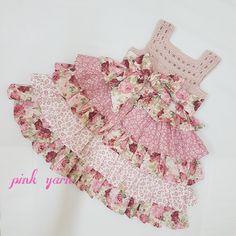 Baby dress with crochet  yoke
