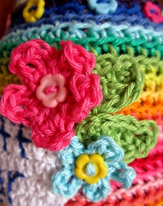 closeup of crochet flowers by Planet Penny, via Flickr