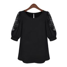 Blusa Camisetas European Station 2017 Summer Women's Big Fat Mm Plus Neck Collar Hook Flower Hollow Sleeve T-shirt Promotion  #Affiliate