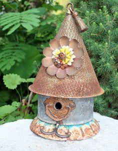"Birdhouse, Metal Birdhouse, Reclaimed Objects Birdhouse, Reclaimed Items, Found Objects, Handcrafted, Garden Art,  ""Spring Fling"""