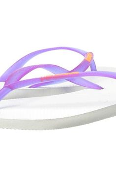 Havaianas Slim Logo Pop-Up Flip Flops (White/Purple) Women's Sandals - Havaianas, Slim Logo Pop-Up Flip Flops, 4119787-500, Footwear Open Casual Sandal, Casual Sandal, Open Footwear, Footwear, Shoes, Gift - Outfit Ideas And Street Style 2017