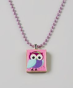 Take a look at this Pink & Purple Bow Owl Scrabble Tile Necklace on zulily today!