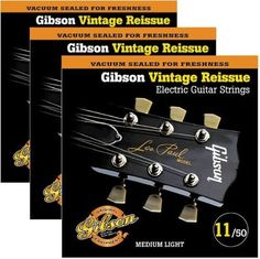 Gibson Vintage Reissue 3-Pack VR11 Electric Guitar Strings by Gibson. $24.99. Gauges 11-14-18-28-38-50. Gibson Strings reinvented the modern guitar string by going back to the days of using only the finest pure nickel wire and slowly wrapping it over the highest quality Swedish steel hex core for maximum strength and stability. The warm, full tone gives your electric guitar a solid new voice. These strings are the favorite with top players around the world! All ...