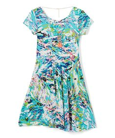 Turquoise Abstract Cap-Sleeve Dress & Necklace - Girls