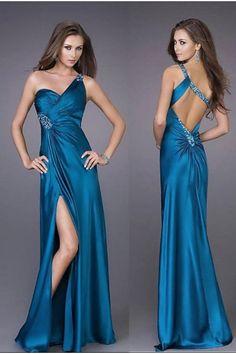 one shoulder wedding evening gown