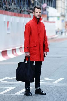 Long Red Rain Trench, and Black Jeans, Bag and Boots, via TommtTon Tumblr. Men's Spring Summer Fashion.