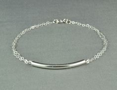 a simple, pretty and delicate double chain curved tube bracelet, 925 sterling silver.