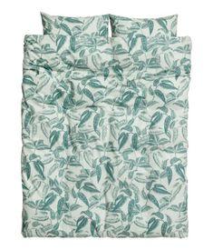 Leaf-print Duvet Cover Set | Dusky green/leaf-print | H&M HOME | H&M US