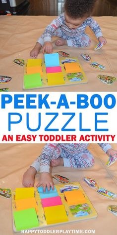 Puzzle Peek-a-Boo – HAPPY TODDLER PLAYTIME Puzzles are a great way to entertain your baby or toddler.  But as fun as puzzles can be sometimes they need little refresh to make them fun and exciting again. Check out this easy way to make an old puzzle seem like new again. #baby #toddler #preschooler #kidsactivities